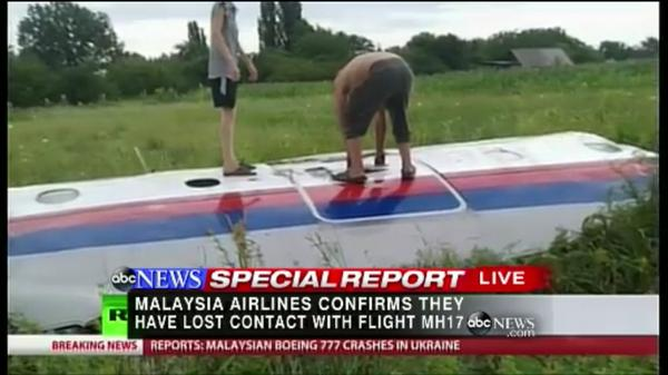 Gio Benitez (@GioBenitez): These are new images of the MH17 wreckage from Russian television.  @ABC Special Report: http://t.co/N8rNl1EnQp http://t.co/W077iDZn4D