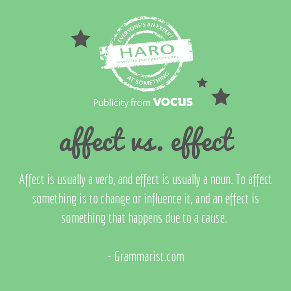 #GrammarLovers - Affect vs. Effect. It's troubled many for so long! http://t.co/kMJDyvYqgU