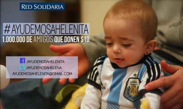 Necesitamos q 1 millon d amigos donen 10 pesos pa q Helenita pueda ser operada de su médula osea. #AyudemosaHelenita http://t.co/pZoA8efW5K