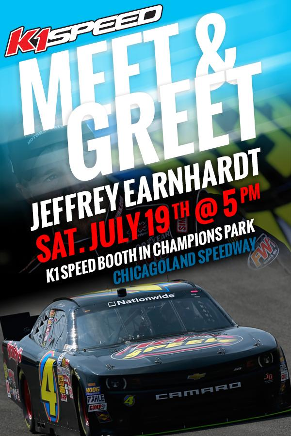 Meet @JDMotorsports01 driver @JEarnhardt1 on 7/19 5pm at the @K1Speed booth in Champions Park at @ChicagolndSpdwy http://t.co/GNuxYDoFfV