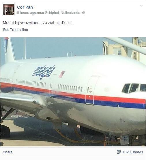 """التقط صورة الطائرة الماليزية قبل إقلاعها من أمستردام وعلق مازحا:""""اذا اختفت عن الأنظار هذه صورتها""""سقطت ومات مع ركابها http://t.co/kGXVkyOI12"""