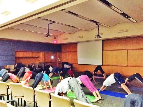 Med students learning about yoga from Judi Bar @ClevelandClinic tonight. http://t.co/pE8tScYKI2