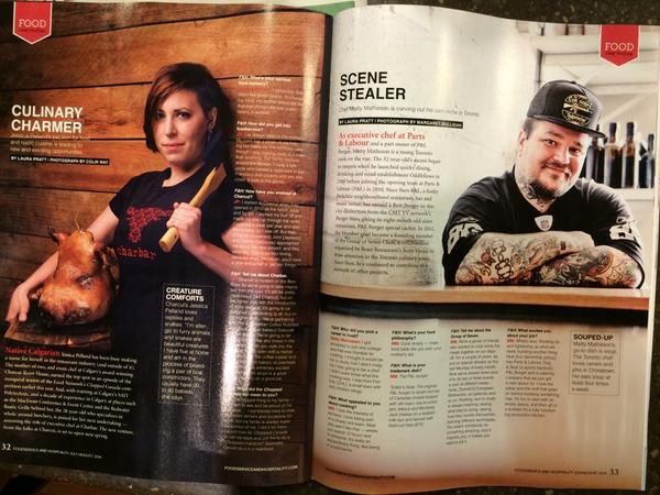 """: Inside @foodservicemag these 2 amazing chefs. Meet them this year @RootsRantsRoars @charbar_yyc @mattydeathbro http://t.co/QOKP2FJGNW"""