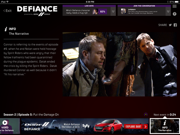 Screen shot of @SyFy Sync app from @watchwith with screen shot of #defaince with @GMHaroldIII (R) (3rd times a charm http://t.co/JGyqysG8oF