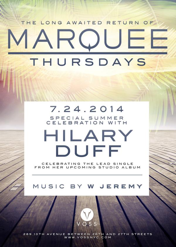 Join @HilaryDuff one week from tonight for the debut of her new single - Thurs at @MarqueeNY! #vossnyc #hilaryduff http://t.co/g3cMD6iUjv