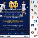 RT @NDTIX: Check out this great deal for 1st time @NDMenSoccer & @NDSoccer season ticket holders. #GetYours #GoIrish http://t.co/hcPdmGulTV