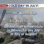 So far 61, might hit 62 - does not matter! Coldest afternoon in July or August for #Denver @DenverChannel #cowx http://t.co/TbZnAm5U5W