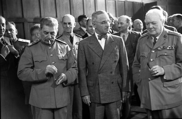 Joseph Stalin, Harry Truman, and Winston Churchill at the Potsdam Conference, 1945. http://t.co/iF8TjoPpQo