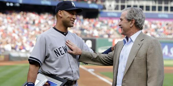 Former President George W. Bush surprised Derek Jeter w/gift before Jeter's last game vs Rangers in Texas. (via @MLB)