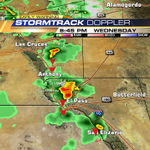 A line of heavy rains, lightning, gusty winds and poss hail is mvng south betwn LC & EP. -sd #txwx #nmwx http://t.co/I5R5xNenzK