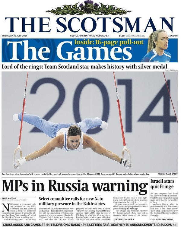 The Scotsman: MPs in Russia warning #scotpapers