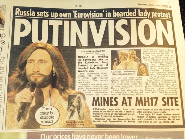 Bullshit of hour. But funny as hell @steve_hawkes: Russia hits back at the West! By planning #heterosexual Eurovision