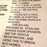 RT @MarcMullins1: Just ahead, a word of warning for people living in or visiting #Fishers. @rtv6 @FishersIN @Fishers_Police http://t.co/aVFlLIyoud