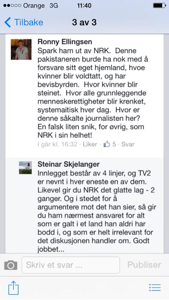 Vet ikke om Mr.Ronny Ellingsen er en sinnamiff. Men han vet tydeligvis ikke forskjell på NRK og TV2. Priceless. http://t.co/MF8lGgl6sH