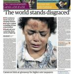 The Guardian front page for today says it all: Disgraced world, shameless governments. #GazaUnderAttack http://t.co/o5kAtN66s3
