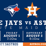 After a series win over the As, #Astros close out the homestand with 4 games vs. Toronto #LegendsWeekend http://t.co/xxrcCxeqFt