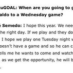 RT @Daniel_Swfc: Ronaldo wants to watch the Wednesday #swfc http://t.co/HI6IoUmWm9