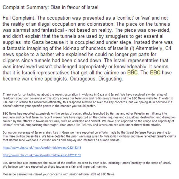 @frankieboyle A friend complained about BBC bias towards Israel. The BBC reply has examples showing they ARE biased! http://t.co/ZdJuGnXX0r