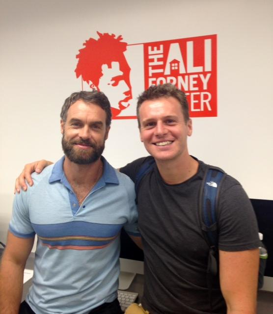 Stars of @LookingHBO Jonathan Groff & Murray Bartlett stopped by #AFC to learn how they can help protect our youth! http://t.co/DHs6E4x0u7