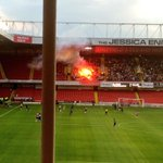 Setting chairs on fire and using flares on a final is sad enough never mind a friendly ???? http://t.co/W9De9z27di