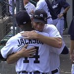 Austin Jackson is removed from the game and hugs his teammates. #TradeDeadline http://t.co/pK1j360z6z