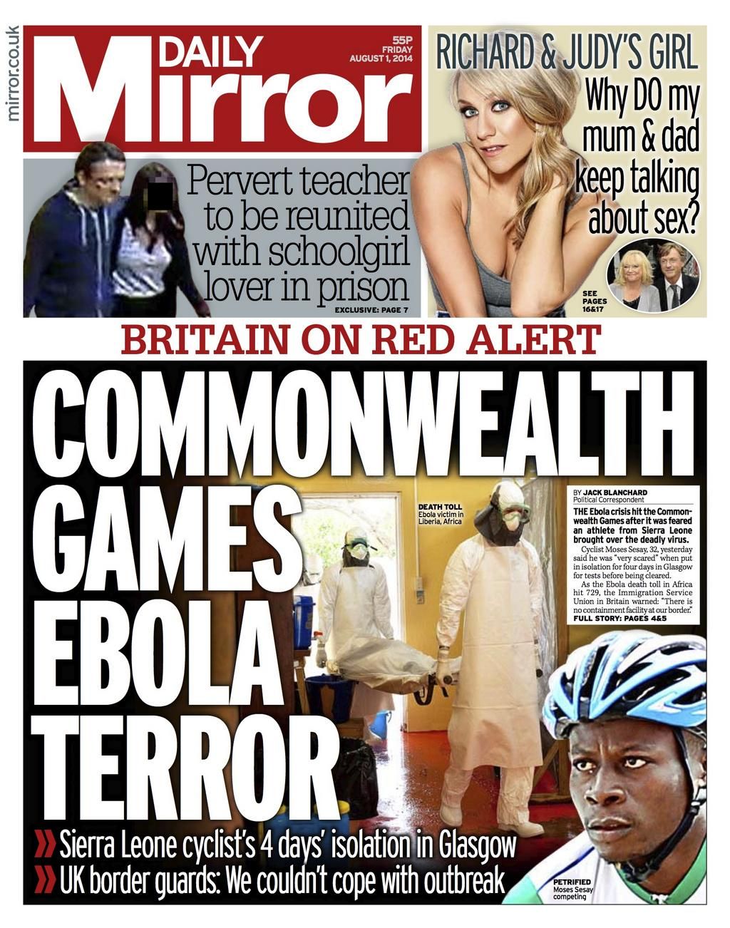 "Friday's Daily Mirror front page - ""Commonwealth Games Ebola terror"" #bbcpapers http://t.co/V9vdu8y1ad via @suttonnick"