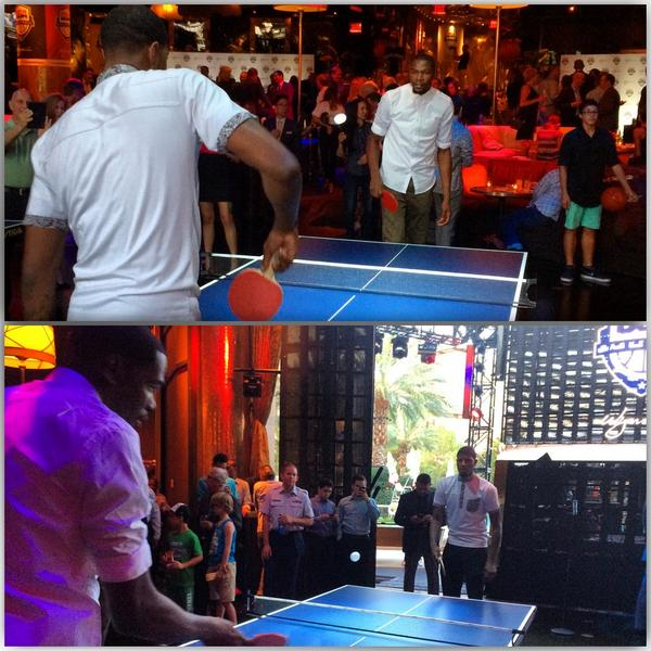 #USABMNT's @Paul_George24 & @KDTrey5 go head-to-head.... on the ping pong table!
