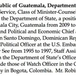 Todd Robinson, nominee for ambassador to Guatemala just blocked by GOP, has served under 4 presidents. http://t.co/GDIaSjka4b