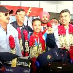 """@ETVRajasthan2: Delhi : #CWG2014 Medal winning Indian Shooters arrive back from Glasgow http://t.co/ENK6TfAMXZ""super????????????"