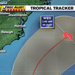 Latest plot from #NHC of #Bertha keeps it out to sea and away from NC. #ncwx http://t.co/OELU5NM4tL