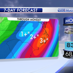 "Lots of rain this weekend. Up to 2"" or more in spots by Monday. Were watching wet roads this am on #wral - EG http://t.co/GSlwZWryOy"