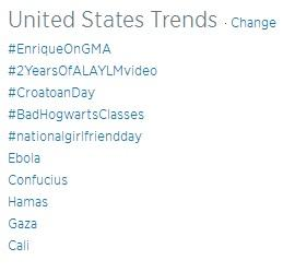 That's right! #EnriqueOnGMA is already the #1 trend in the county! @GMA http://t.co/moX4hFXOzX