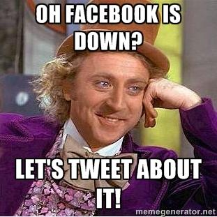 Oh Facebook Is Down? Let's Tweet About It! http://t.co/GGJqd5J8qc