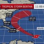 RT @MorningBlend969: DEPT OF METEOROLOGY: Tropical Storm Alert for Tropical Storm Bertha in effect for SE Bahamas and Turks & Caicos. http://t.co/GpCPoZrWpt