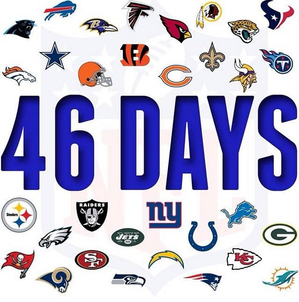 Who's Ready? #Repost @nfl 46 Days... #Kickoff2014 http://t.co/dTJhfYZHBV