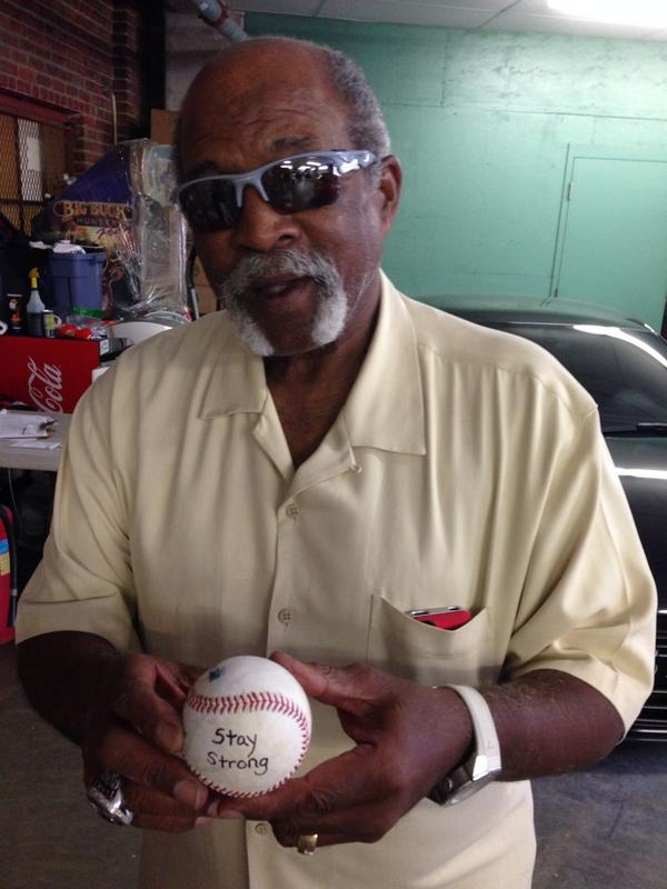 """Love this man! @RedSox legend Louie Tiant shares a message """"Stay Strong"""" to kids in need! #hopebowl @ClayBuchholzFdn http://t.co/rG5ZkZa4tP"""