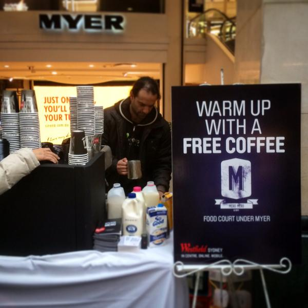 Warm up with a FREE coffee from our coffee cart on Pitt Street Mall! Coffee courtesy of Mero Mero! #free #coffee http://t.co/5WsnrybZjz