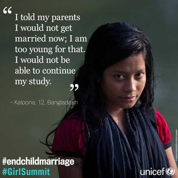 In #Bangladesh, 65% of girl child get married. End #childmarriage: http://t.co/5nzTrKHQDw @GirlSummit @UKinBangladesh http://t.co/ZytsEVBgqe