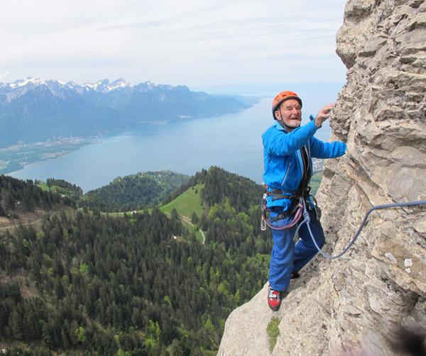91 years old Marcel Remy recently climbed Ace of Spades 5c in Dent de Jaman. What an amazing achievement! #climbing http://t.co/G4SwgzzRdC
