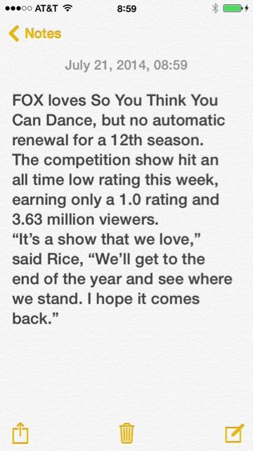 This is what FOX says about #SYTCYD @DanceOnFox Please RT. http://t.co/dGlKXdyy2Z