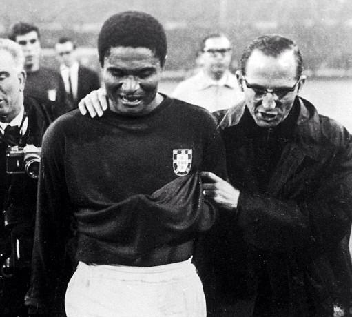 A devastated Eusebio after England have knocked out Portugal in the 1966 World Cup semifinal
