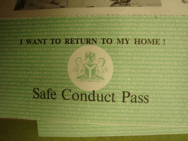 During the civil war the Nigerian Army passed out safe passes for Biafrans that wished to return home. Here's one.