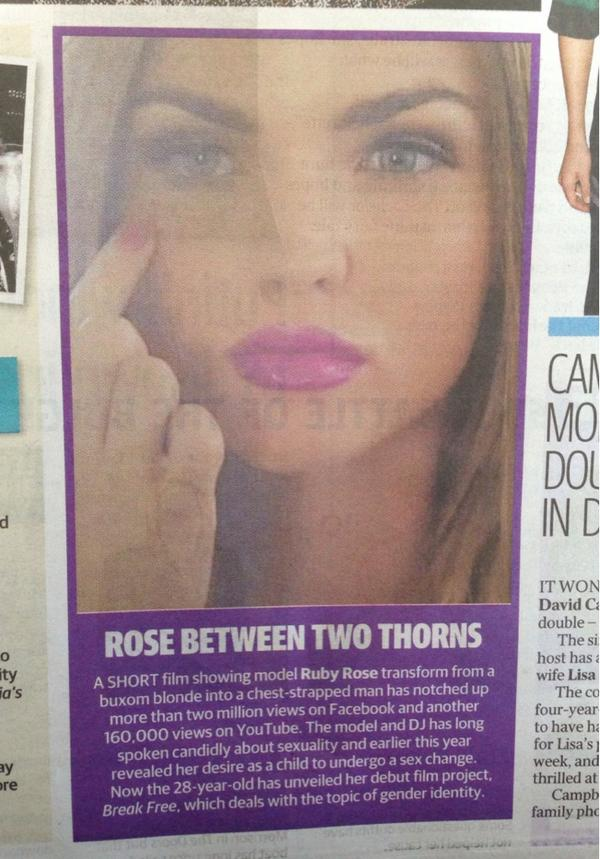 Hey @RubyRose this was in the Courier Mail Australia today. Nice one. http://t.co/uzb8bTPg6L