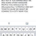 RT @AaronCarpenter_: Do it! I wanna see your beautiful faces ❤️ @SunsationTour http://t.co/O3qkTmRUs3