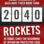 RT @IDFSpokesperson: Hamas has fired more than 2,040 rockets at Israel in the past two weeks. Thats more than 145 rockets a day. http://t.co/8O7DKJ6zYK