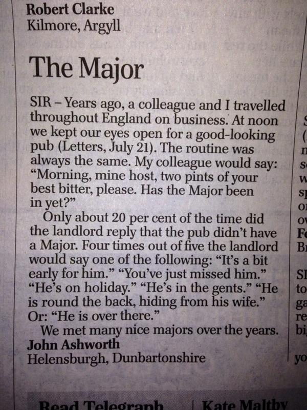 Me and the Major: Telegraph letters page hits the jackpot http://t.co/fqFSqVHOE9