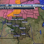 #SkyWarn13 SEVERE TSTORM WARNING for Sawyer and Washburn til 2:30AM. 60MPH gusts & penny size hail possible http://t.co/1LOKv9q4A9