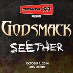 POWER97 presents Godsmack & Seether - October 1 @ MTSCentre. Beat the Box Office with us at 8:40 this morning! http://t.co/9d2Vx260Hv