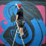 World famous graffiti artist @inkiegraffiti at Custard Factory for @StreetArtBrum festival http://t.co/TvRJaYe4ag http://t.co/Um6vwnFWkB