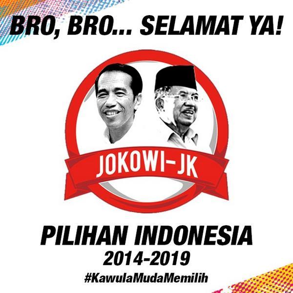 Selamat buat pak Jokowi & pak JK! Semoga dpt menjalankan amanah dgn baik & memajukan Indonesia :)) #KawulaMudaMemilih http://t.co/N4GeEGJIHN